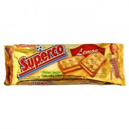 Superco Cream Lemon Rasa Dengan Rasa Lemon Yang Tebal, Dan Terdapat Taburan Gula.