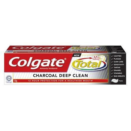 Colgate Total mengandung partikel MICRO CHARCOAL yang dapat membersihkan sampai ke celah gigi. Memberikan perlindungan 12 jam untuk gigi, gusi, pipi, dan lidah serta melawan seluruh rangkaian masalah kesehatan mulut, seperti:  Gigi berlubang  Plak  Mas
