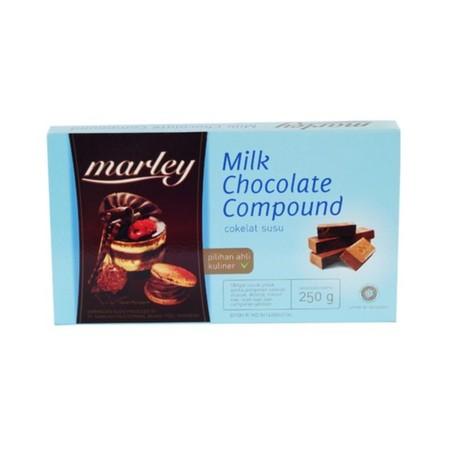 MARLEY MILK CHOCOLATE COMPOUND Cokelat milk Kemasan 250gr Dapat dilelehkan dan dicetak, dilelehkan dan dicampurkan pada adonan cake, diparut sebagai topping, dll HALAL MUI