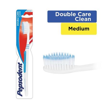 Pepsodent Double Care Clean, Sikat Gigi Dengan Kombinasi Bulu Sikat Medium. Gagang Sikat Yang Lembut Untuk Genggaman Lebih Baik Dan Nyaman Saat Menyikat Gigi