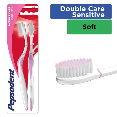 Sikat gigi Pepsodent Double Care Sensitive dirancang untuk membersihkan secara lembut dan menyeluruh. Bulu sikat 0,01mm yang lembut untuk mempermudah membersihkan sela-sela gigi Leher sikat berlekuk 3 membantu Anda menjangkau bagian belakang gigi*. Pember