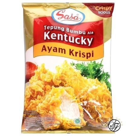 Sasa Tepung Bumbu Ala Kentucky diracik dengan resep ala Kentucky yang krispi, lezat dan tidak memerlukan tambahan bumbu lain. Praktis, mudah, higienis, pasti enak. Paling cocok untuk menggoreng ayam.
