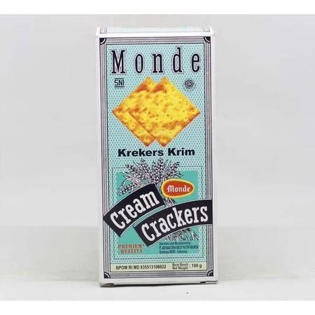 Monde cream crackers yang dibuat dari bahan berkualitas, teman disaat waktu rehat dan disaat senggang.