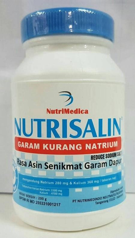 Nutrisalin adalah produk pengganti garam dapur yg bermanfaat untuk diet rendah garam seperti pada penderita hipertensi/tekanan darah tinggi Dengan menggunakan Nutrisalin sebagai pengganti garam dapur, maka jumlah Natrium berkurang hingga 50 % dan jumlah K