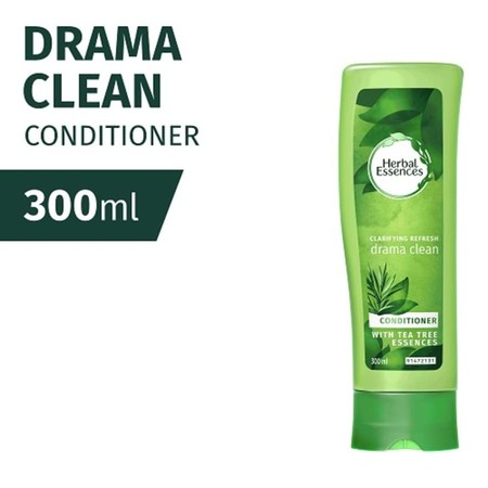 Herbal Essences Conditioner Drama Clean has Lightweight formula to refresh normal and oily hair and leave it beautifully purified clean . Enjoy refreshing tea tree essences of Herbal Essences Drama Clean conditioner.