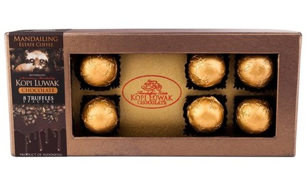 Pure Luxury. 100% Mandailing Estate Kopi luwak, Sumatran Cacao and Vanilla. 8 Mandailing Estate Coffee kopi Luwak Chocolate Truffles