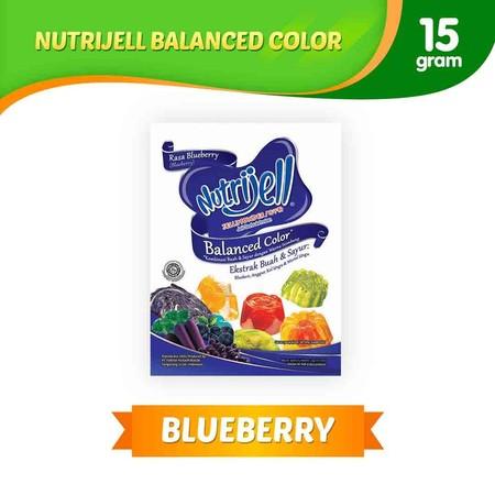 Jeli serbuk instan dengan kombinasi buah dan sayur dengan warna seimbang. Ekstrak buah dan sayur. Varian Blueberry.