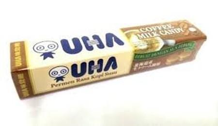UHA merupakan permen susu sejak tahun 1990 yang sangat populer di Jepang. Permen susu ini memiliki rasa manis yang diperoleh dari susu sapi murni dengan perpaduan rasa kopi.