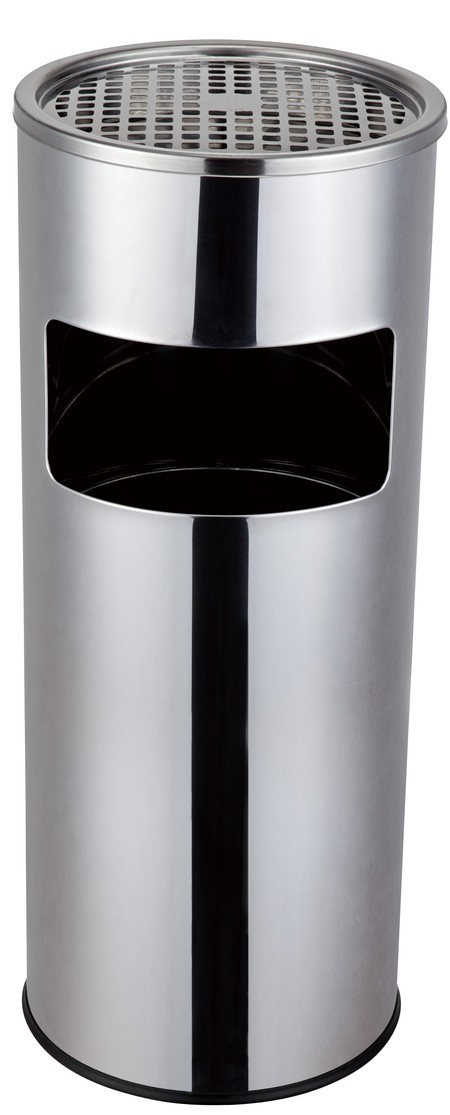 Stainless steel Trash Bin. Elegant design Made of stainless steel  Not easy to rust Easy to clean (removable cap) With tray for cigarette Durable size 250 * 610mm Indoors or outdoors use. Suitable for office, hotel and mall use.