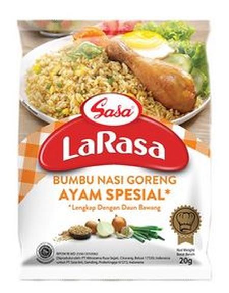 Bumbu nasi goreng Ayam Spesial LaRasa adalah: Bumbu praktis siap masak dengan rasa ayam spesial Sudah dilengkapi dengan telur Rasa lebih lezat. Tidak perlu tambahan bumbu lainnya