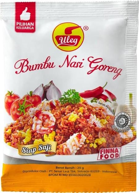 Uleg bumbu nasi goreng siap saji ala rumahan terbuat dari bahan pilihan dan berkualitas, bentuk pasta tidak bubuk tinggal di campur nasi panas/dimasak lagi, nasi goreng siap di nikmati