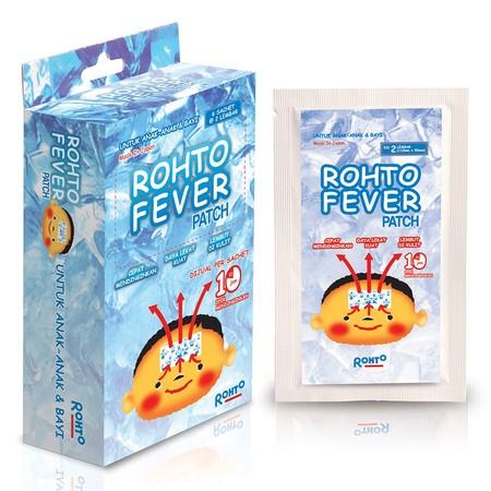 Rohto Fever Patch Plester penurun panas atau demam made in japan redakan demam dengan depat aman serta lembut dikulit sangat praktis untuk digunakan sebagai pertolongan pertama saat anak demam paling ekonomis 1 sachet berisi 2 lembar plester.