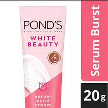 Ponds White Beauty Serum Burst Cream, 3x Nutrisi+ untuk Wajah Lebih Cerah. Hanya dengan 1 olesan untuk 1000 tetes serum++ yang ringan seperti air. Dimulai dengan krim ringan yang kemudian berubah menjadi 1000 tetes serum yang efektif. Kulit menjadi tampa