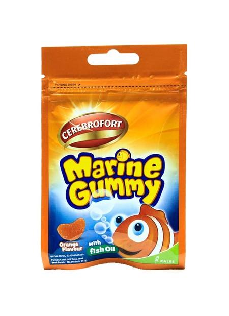 Cerebrofort Marine Gummy, satu-satunya gummy yang diperkaya dengan minyak ikan tuna untuk membantu kecerdasan anak. Cerebrofort Marine Gummy hadir dalam empat varian, mango, strawberry, orange dan mix fruits. Manfaat :  Minyak Ikan yang berasal dari Ikan
