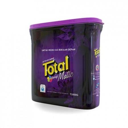 Total Matic Front Loading 1L merupakan detergen halal pertama di Indonesia persembahan Total yang efektif membersihkan noda sampai ke serat terdalam, sehingga membuat pakaian Anda menjadi lebih bersih. Deterjen ini memiliki keharuman yang maksimal yang me