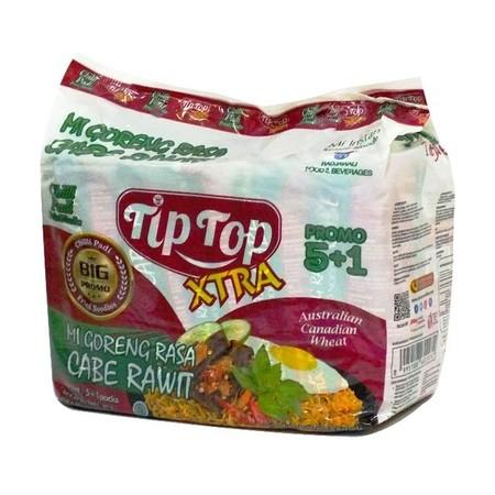 Tip Top mie goreng cabe rawit merupakan mie instan yang memiliki rasa yang gurih dan lezat. Terbuat dari bahan Mie Tepung terigu, minyak sayur, tepung tapioka, garam, pemantap, pengatur keasaman, mineral (zat besi) , pewarna (tartrazine Cl19140), antioksi