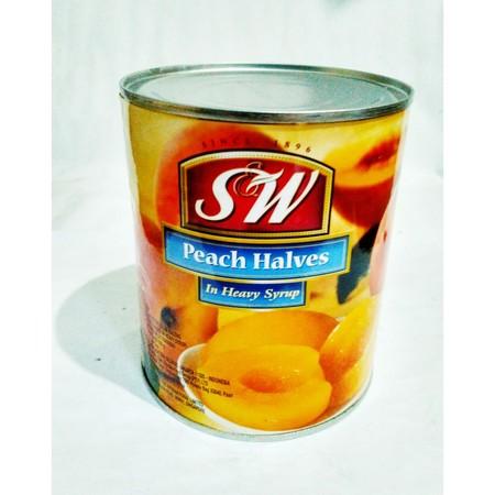 Buah Peach dalam syrup kemasan kaleng 825gr