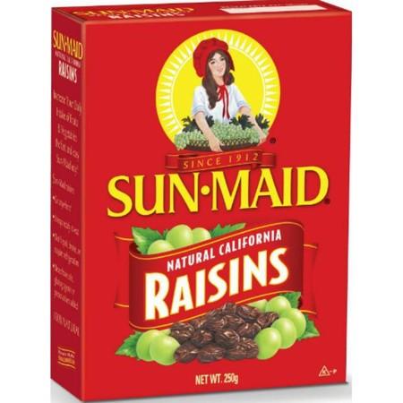 Sun-Maid adalah cara mudah untuk memastikan Anda selalu memiliki kismis di rumah. Hanya cangkir Sun-Maid Raisins memberikan satu buah penuh kebutuhan gizi direkomendasikan oleh ahli gizi. Taburkan mereka di sereal atau salad Anda, campurkan dengan kudapan