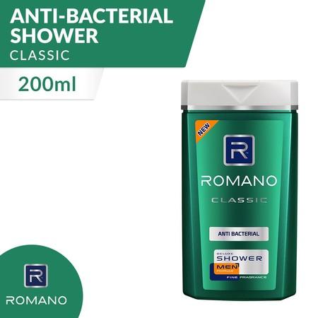 Body Wash Romano Classic Anti Bacterial 200 Ml Diformulasikan Khusus Untuk Pria, Romano Classic Antibacterial Shower Menjaga Kulit Sehatmu Bersih Dan Lembut Dengan Parfum Maskulin Khas Romano Classic. Formula Sodium Pca Dan Anti Bakterinya Membersihkan Se
