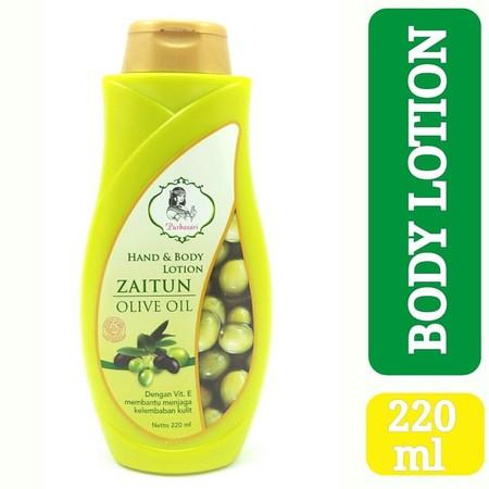Purbasari Hand Body Lotion Zaitun merupakan lotion tubuh dan tangan yang mengandung vitamin E dan dapat menjaga kelembapan kulit.