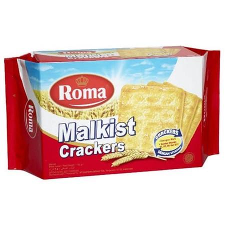 Roma Malkist Crackers 135 Gram. Malkist crackers yang renyah dengan taburan gula yang manis. Crackers Dengan Malt dan Sumber Vitamin B1, B2, B6 Dan B12