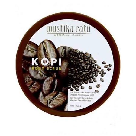 Mustika Ratu Scrub Kopi : Body scrub dengan Kandungan ekstrak kopi sebagai antioksidan. Dapat melembutkan & menghaluskan kulit, menjaga kekencangan kulit. Mengangkat sel kulit mati, dapat mengatasi bau badan, membersihkan kotoran-kotoran yang menempel pad
