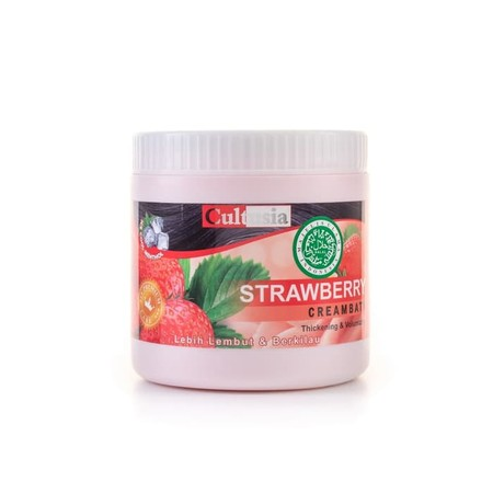 Cultusia Creambath Strawberry dengan cream yang lembut menjaga rambut tetap sehat dan menutrisi rambut yang kering dan kasar.