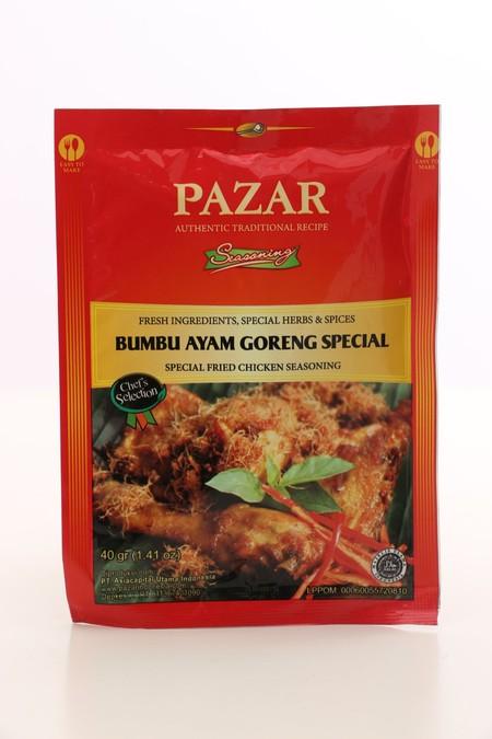 Pazar Bumbu Ayam GORENG SPECIAL adalah bumbu instant dalam bentuk pasta yang terbuat dari bahan-bahan alami berkualitas terbaik dan diproses secara higienis sesuai standar keamanan pangan hingga menghasilkan rasa yang lezat dan 100% Halal.