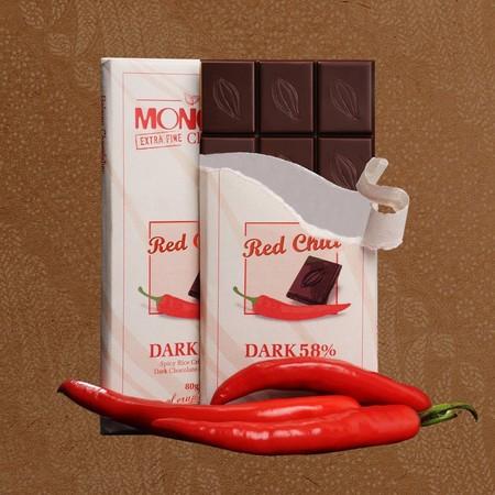 Coklat Monggo Jogja, dark chocolate 58% dengan dengan sensasi cabai merah sehingga memiliki cita rasa yang unik, namun istimewa, coklat produksi dalam negeri yang dibuat dengan menggunakan bahan-bahan berkualitas, disukai oleh tua dan muda.