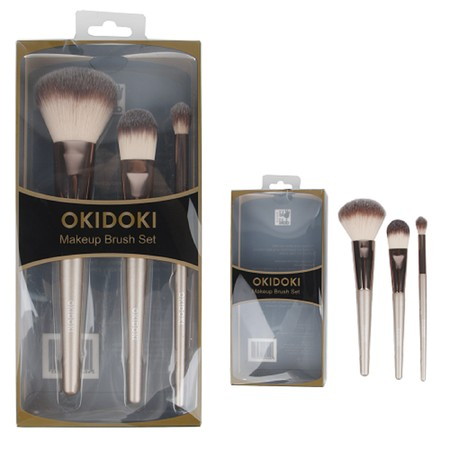 Make Up Brush yang terdiri dari  Powder foundation brush (19.5cm) Blender brush (17.5cm) Eyeliner brush (16cm)   Brand: OKIDOKI WARNA: Champagne Material: Canvas