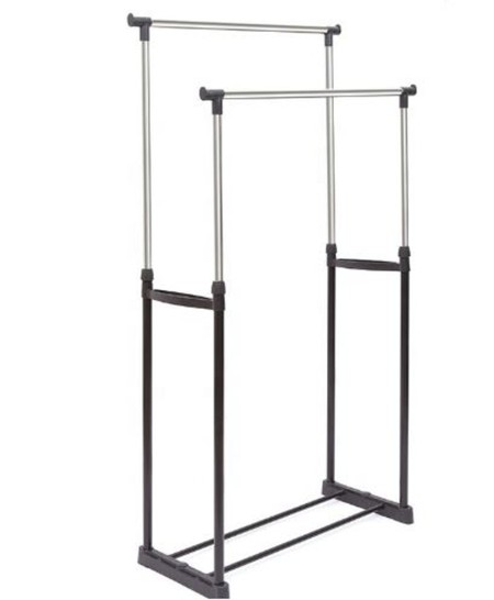 Double indoor clothes hanger. Size: 78 x 42 x 85 ~ 165cm. Material: Plastic and iron 19mm Stainless steel Color: Black and Chrome