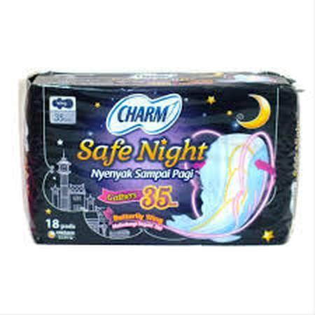 Lebih Tipis, Nyaman Dan Nyenyak Sampai Pagi ! Charm Safe Night Lebih Tipis Dan Panjang Hingga Kebagian Belakang. Memberikan Perlindungan Anti Bocor Belakang, Rasa Nyaman Dan Kering Untuk Tidur Nyenyak Semalaman. Nyenyak Sampai Pagi !  -Lebih Tipis -Fleksi