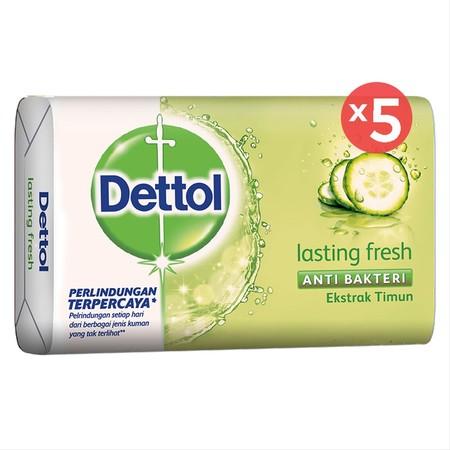 Dettol Sabun Batang (Barsoap) Fresh Merupakan Sabun Mandi Anti Bakteri Bertekstur Cair Yang Mampu Memberi Perlindungan 12 Jam Terhadap Kuman Penyebab Bau Badan (Kaki, Ketiak Dan Lain-Lain). Dengan Kesegaran Khas Mentimun Dapat Membangkitkan Semangat Anda