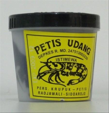 Petis Udang Radjawali Istimewa - Asli Sidoardjo Petis adalah bumbu masakan Indonesia yang dibuat dari produk pengolahan makanan berkuah (biasanya dari pindang, kupang, atau udang) yang dipanasi hingga cairan kuah menjadi kental seperti saus yang lebih pad