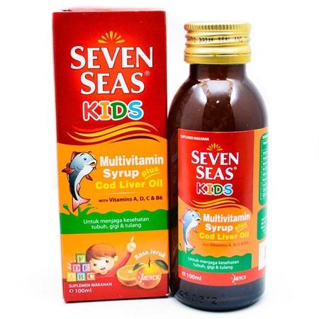 Seven Seas Kids Emulsion merupakan suplemen penunjang yang digunakan untuk meningkatkan kecerdasan, nafsu makan, dan tumbuh kembang pada anak. Seven Seas Kids mengandung beberapa senyawa aktif yaitu : 1. Minyak Hati Ikan Kod dibutuhkan oleh tubuh karena k