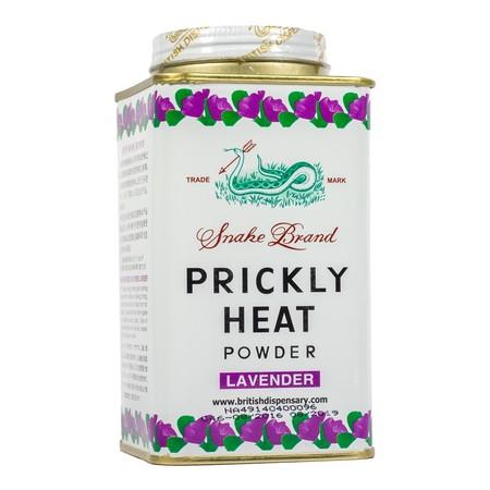 Snake Brand Prickly Heat Lavender Powder merupakan bedak dingin yang dapat digunakan untuk menghilangkan gatal-gatal seperti biang keringat, untuk mencegah bau badan, untuk membuat badan terasa dingin & sejuk, dan untuk mencegah dari gigitan nyamuk.