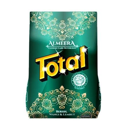 Total Almeera Powder Detergent merupakan detergent dengan kandungan yang halal dan dapat membersihkan pakaian dan noda sampai ke dalam serat kain. Pakaian lebih lembut dan nyaman dipakai. Memiliki extra parfum lebih segar dan wangi lebih tahan lama. Membu