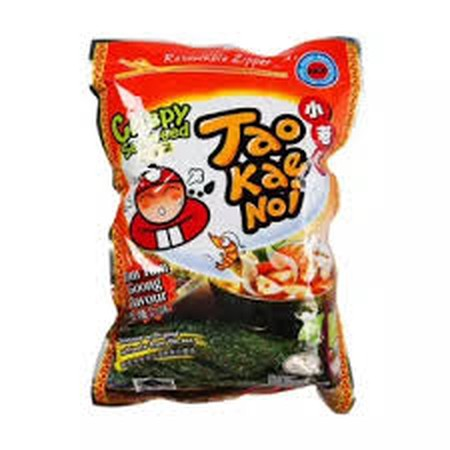 Delicious With Good Nutrients From The Sea. Ingredients: Seaweed (85%), Palm Oil (9%), Sugar (1.9%), Tom Yum Flavour (1.1%), Shrimp Powder (1%), Chilli (1%), Salt (0.6%), Flavour Enhancer (E627, E631) (0.4%). This Product Contains Shrimp (Crustacean)
