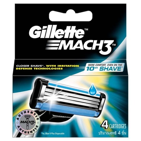 Gillette Mach3 Content 4 Cartridges Merupakan Pisau Cukur Yang Memiliki 3 Mata Pisau Dengan Menggunakan Teknologi Pivot, Coating Blades & Lubricants Yang Dapat Memberikan Kenyamanan Saat Mencukur Sesuai Dengan Kontur Wajah Anda.