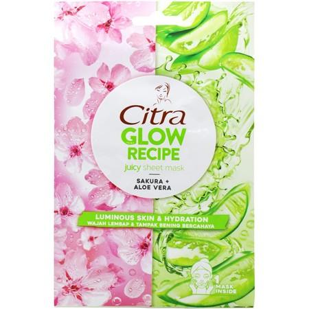 Citra Glow Recipe Juicy Sheet Mask yang mengandung sakura dan aloe vera, dengan sakura yang kaya akan antioksidan dan berguna untuk mengontrol minyak berlebih di wajah, serta aloe vera dikenal dengan manfaatnya yang menghidrasi wajah. Untuk wajah lembap d