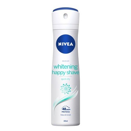 Nivea Deodorant Spray White Happy Shave , Diperkaya kandungan Pro-Vitamin B5 dan vitamin C. Efektif mencerahkan, menghaluskan, dan mengurangi iritasi kulit ketiak setelah mencukur. Perlindungan 48 jam dari keringat dan bau badan. Terbukti aman untuk kulit