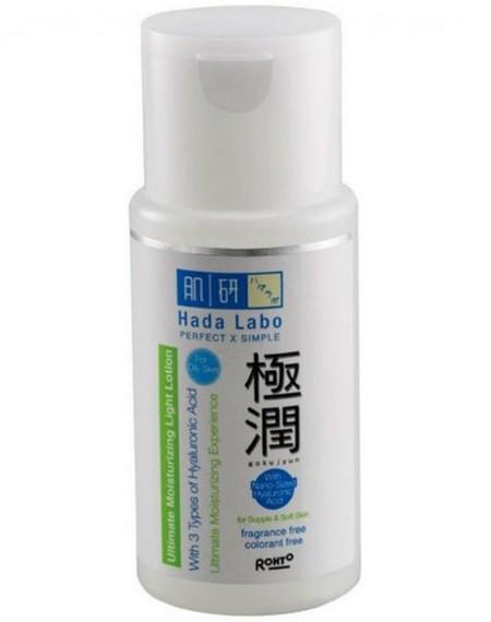 Hada Labo Gokujyun Ultimate Moisturizing Light Lotion ini diformulasikan khusus untuk kulit berminyak dan mengandung kombinasi 3 tipe Hyaluronic Acid, yaitu Improved Hyaluronic Acid (AcHA), Hyaluronic Acid, dan Nano-Sized Hyaluronic Acid. Kombinasi ini di