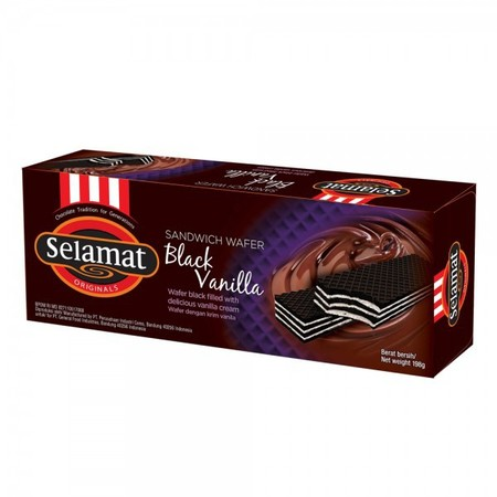 wafer hitam Selamat yang renyah dengan lapisan krim vanilla di dalamnya. Perpaduannya dijamin akan menghadirkan banyak kelezatan untuk anda.