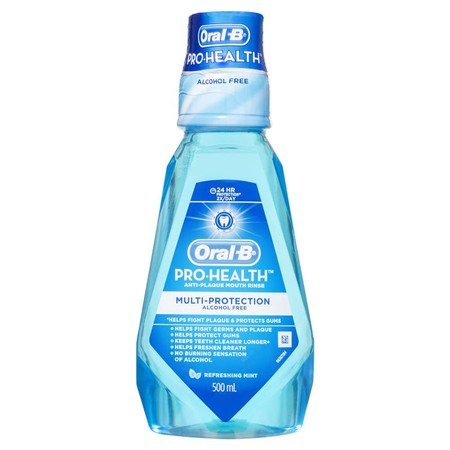 ORAL-B Pro Health Multi Protection merupakan obat kumur yang sangat efektif untuk kebersihan mulut . Berikan perawatan terbaik untuk kesehatan mulut Anda dengan ORAL-B Pro Health Multi Protection . ORAL-B Pro Health Multi Protection dapat menyegarkan nafa