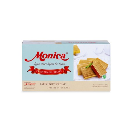 Monica Special Kue Lapis Legit merupakan kue lapis legit dengan rasa spesial. Terbuat dari komposisi telur, gula, lemak susu anhidat, margarin, tepung terigu, susu kental manis, pengemulsi, pengembang makanan, dan tanpa pemanis buatan yang dipadukan denga