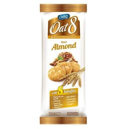 Biskuit Oat 8 varian Kacang Almond yang dibuat dengan perpaduan oat dan almond pilihan menambah lezatnya rasa biscuit sehat ini, serta terdapat 8 kandungan di dalamnya yang bermanfaat bagi tubuh. Tersedia dalam kemasan berbentuk Box dan Sachet | Komposisi