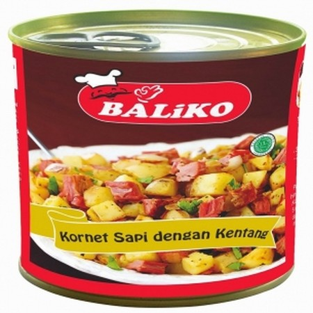 BALIKO CORNED BEEF With potto 340gr dengan daging sapi pilihan yang dikombinasikan dengan jamur, rempah pilihan dan kentang, semakin membuat rasa daging sapinya semakin nikmat