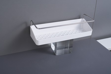 Bathroom and kitchen accessories set. Shelf placement of toiletries or seasoning with holder. Retaining iron helps prevent goods from falling easily. Size 45X6X11CM Buy the main board and other accesories to install and complete the series.