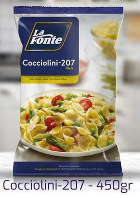 Cocciolini La Fonte dibuat dengan tradisi khas Italia menggunakan gandum durum pilihan yang memiliki warna kuning asli biji gandum dan tekstur yang tidak mudah hancur.