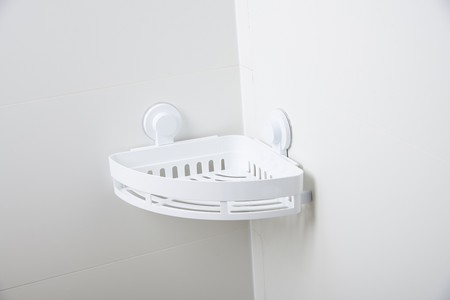 Special bathroom accessories for wall corner placement. Bathroom rack with HQ ABS + PP material and elegant design. Loads up to 4KG (total) High adhesion.